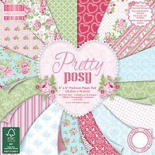 First Edition Pretty Posy 6x6 Scrapbook Paper Full Pad Floral Rose Shabby Chic