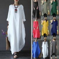 Vintage Style Women Casual Long Sleeve Baggy Cotton Linen Long Maxi Dress Kaftan