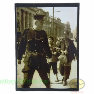 """8""""x6"""" old photograph a police in Shanghai  International Settlements China 1949s"""