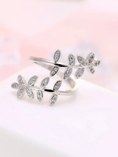 925 silver olive leaf feather dainty adjustable ring jewellery present gift