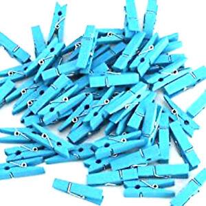 MINI PINCES A LINGE BOIS TURQUOISE PASTEL 25mm x 3mm  LOT DE 20
