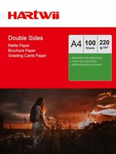 Hartwii 100 Sheets A4 220Gsm Matte Coated Double Sided Photo Paper for Inkjet