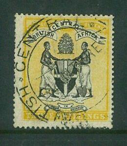 BCA / NYASALAND - 1895 3/- arms (no wmk) (SG27) fiscally used  (ES642b)