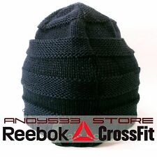 Reebok Black Sport Beanie Hat Knit Warm Winter Logo Mens Womens Unisex Essential