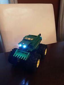 John Deere Monster Treads Tractor  Wagon Lights Sounds Tomy Toys Truck Farm