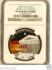 Palau Temple of Artemis, NGC PF 68 Wonders of the World .999 Silver Coin POP: 1