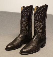 Vtg 70's Tony Lama Western Black Label Wing Tip Exotic Ostrich boots men's 9D