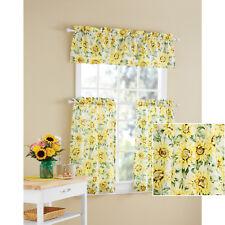 Sunflower 3-Piece Kitchen Curtain Tier and Valance Set Home Decor Room window