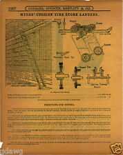 1915 PAPER AD 3 PG Myers' Milbradt Rolling Bicycle Store Ladder Cushion Tire