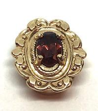 14k Yellow Gold Slide Bracelet Charm ~ Garnet ~ Glatter