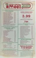 1980's Vintage Take-Out Menu AMECI PIZZA & PASTA Restaurant Canoga Park CA