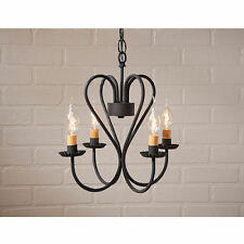 Small Georgetown Four Arm Black Wrought Iron Chandelier NEW SHIPS FREE