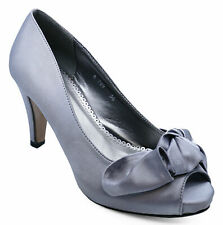 LADIES GREY SLIP-ON SATIN PEEP-TOE PARTY BOW EVENING PROM COURT SHOES SIZE 3-8