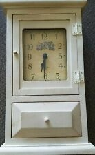 "Bulova Brand ~ 12"" Tall ~ Wooden Box Clock with Bottom ~ Front Drawer"