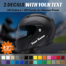 """CUSTOM MOTOCYCLE MOTO HELMET DECAL - 2 STICKERS WITH YOUR TEXT 1/2"""" TALL DECALS"""