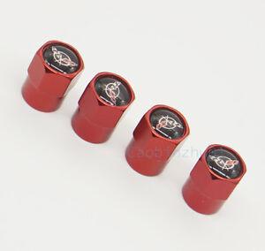 4x Red Car Auto Accessories Wheel Cover Tire Valve Caps Logo for Corvette