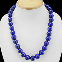FINEST EVER 700.00 CTS NATURAL BLUE LAPIS LAZULI ROUND BEADS NECKLACE - GEM EDH