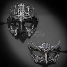 Masquerade Mask Couple Roman Warrior Steampunk Venetian Women Men Silver Mask
