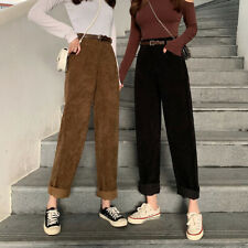 Women's Casual Corduroy Loose Straight Trousers High Waist Wide Leg Pants Autumn