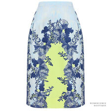 Erdem Blue Tones Acid Lemon Floral Pattern Aysha Pencil Skirt UK8 IT40