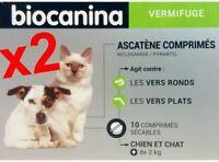 LOT DE 2 BIOCANINA Ascatène vermifuge pour chien et chat +2kg boite 10 comprimés