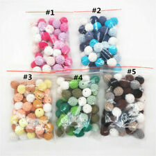 Chunky Crochet Round Wooden Mixed Color Beads DIY Baby Teething Necklace Jewelry