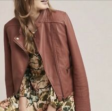 Anthropologie ett:twa Moto Vegan Leather Jacket Asymmetric Zip Medium Petite