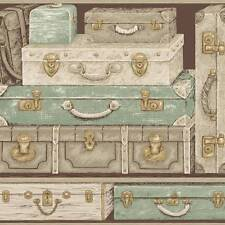 Wallpaper Designer Trompe L'oeil Stacked Luggage Suit Cases