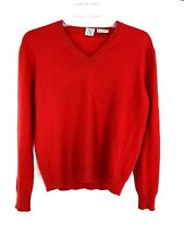 TSE 100% Pure Cashmere Red Coral Pullover V Neck Sweater Top Size S Small (B6)
