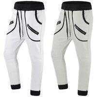 New Men Fleece Joggers Zipper Pockets Drawstrings Sizes S M L Sweatpants Pants