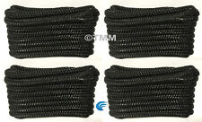 "(4) Black Double Braided 1/2"" x 20' ft Boat Marine HQ Dock Lines Mooring Ropes"