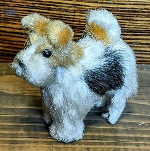 Antique French Doll Miniature Mohair Companion Dog w/ Glass Eyes 100%Orig*RARE*