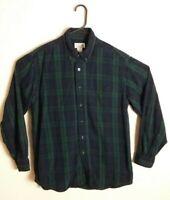 LLBean Mens Outdoor Mens Medium LS Shirt Green Blue Flannel Button Down