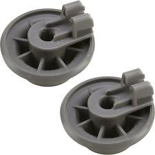 2 x Genuine Siemens & Bosch Dishwasher Lower Basket Rail Wheels - Grey 611475