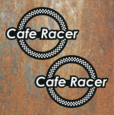 Cafe Racer Stickers Pair chequered flag Retro Race Motorbike Motorcycle Decals