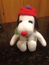 Peanuts Snoopy Jingle Bell Snowman Plush Dog Whitman's NWT Jingles bell in tummy