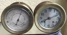 """Antique Chelsea Ship's Bell Clock And Barometer Set 4.5"""" Dial Ca. 1915 Red Brass"""