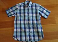 MENS S GAZMAN blue wide check Summer Shirt Cotton Button Collar