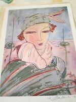 Arte stampa serigrafia con firma dell'autore SOGGETTO donna bella epoche 48x 35