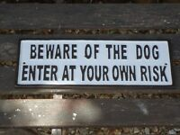 Large Cast Iron Plaque ( BEWARE OF THE DOG ENTER AT YOUR OWN RISK )  Metal Sign