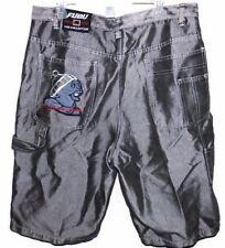 Platinum FUBU Shiny Silver Gray Jean Shorts Size 38 (Tag 40) Denim Hip Hop