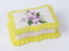 Vtg ceramic trinket dish white yellow purple flowers green 1983 Gator Mold Co