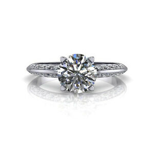 1.10 Carat Real Diamond Engagement Rings 18K Solid White Gold Engagement Bands