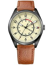 Tommy Hilfiger Dylan Men's Brown Leather Stainless Steel Casual Watch 1791372