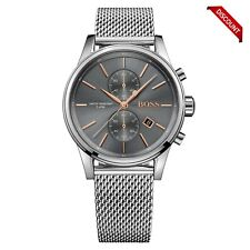 BRAND NEW 1513440 HUGO BOSS STAINLESS STEEL MESH GREY JET MEN'S WATCH UK STOCK