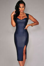 WOMENS BLUE DRESS PVC WET LOOK MINI MIDI VINYL LEATHER BODYCON SIZE 12 & 14