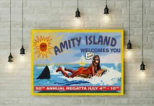 Jaws Inspired Amity Island Help! Shark Billboard Prop Poster, Funny Poster