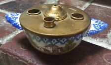 Antique c.1900 OVINGTON New York Inkwell   Brass Lid & Hand Painted Pottery USA