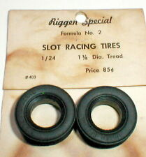 """1 Pr Racing Tread Tires 1 1/8"""" Riggen 1/24 Slot Car #403 Formula 2 Original NOS"""
