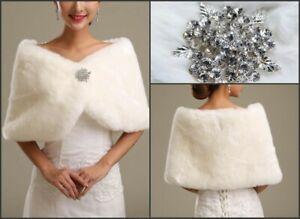 Girl's ivory Faux Fur Cape Wrap Shrug Shawl Coat Wedding Winter shawl